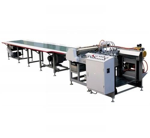 the semi-auto gluing with conveyor machine